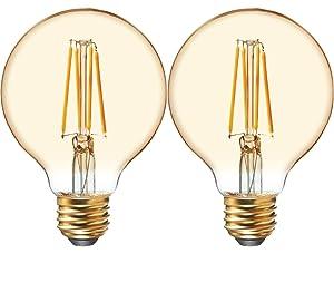 GE Lighting 42179 Amber Glass Light Bulb Dimmable LED Vintage Style G25 Decorative Globe 5.5 (60-Watt Replacement), 400-Lumen Medium Base, 2-Pack, 2