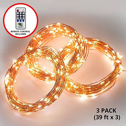 Fairy LED String Lights - 3 Sets 117ft Total Lighting Length, Copper Wire Amber Twinkle Starry Lights - Create Starry, Glowing Light Effects, From Bedrooms to Outdoor Parties - Buy 3 Pack Save 5%