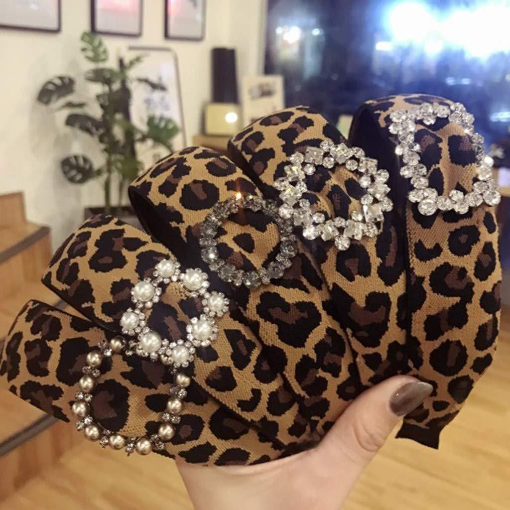 Headband,Yolmook Womens Elastic Leopard Velvet Turban Headband Knot Cross Wide Hair Band
