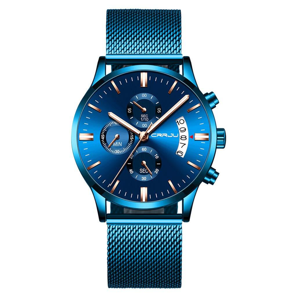 Yezijin Men's Watch Waterproof Calendar Steel Mesh with Chronograph Quartz Watch for Father Men Student Youth Teens Boyfriend Lover's Birthday by YEZIJIN watch
