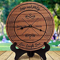 AndCo 12 Inch Wood Clock, Modern Newly Wed Gift Live Laugh Love Wedding Gift Custom Names Wedding Couple Classic Couple, Clock Only, Wall Clock