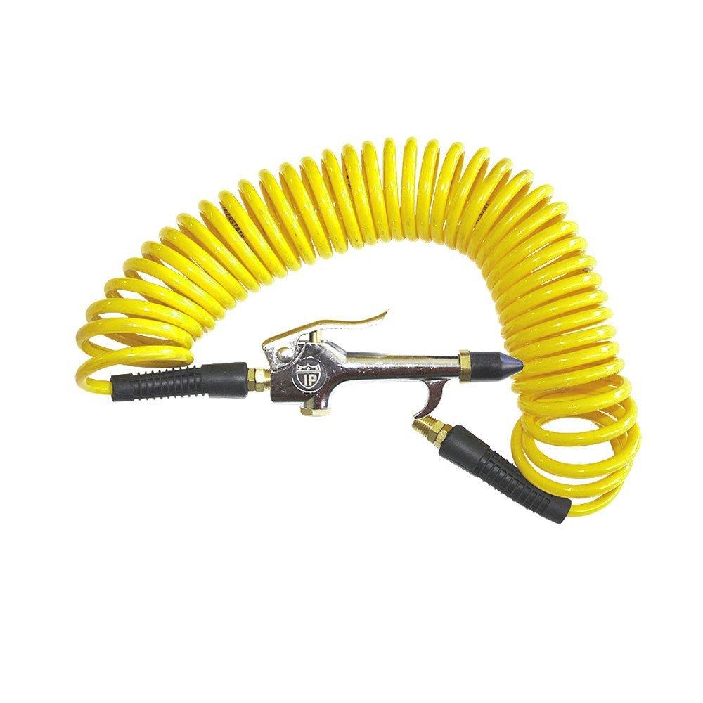 Interstate Pneumatics HR14-012B Yellow Polyurethane Recoil Hose 1/4 Inch x 12 Feet Swivel Fittings With Gun