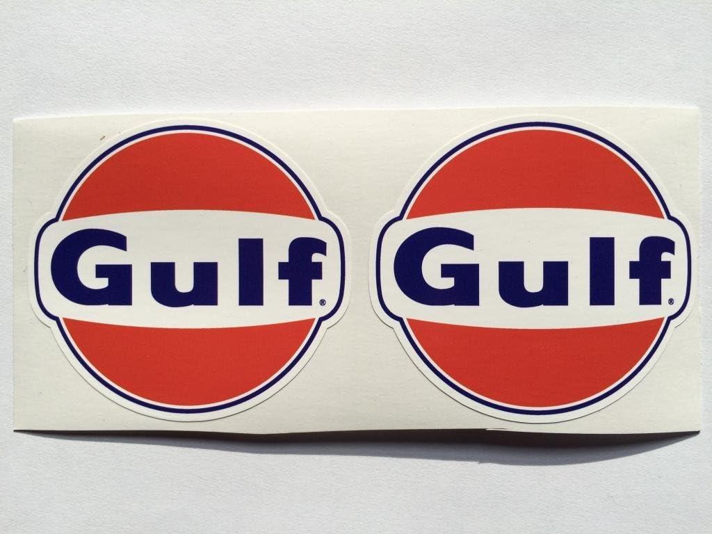 Amazon.com: 2 del Golfo Gasolina Aceite Die Cut calcomanías ...