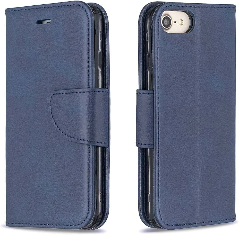 Aismile Compatible with iPhone SE 2020 Phone Case Dark Blue Premium Leather Wallet Case for iPhone SE 2020 Smartphone with Magnetic Closure ID Card Slots Pocket Position 360 Shockproof Protective