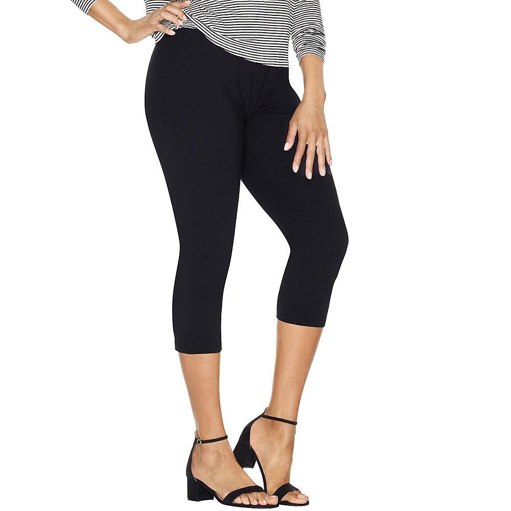 Just My Size Women`s Stretch Cotton Capri Leggings, Q88908, 2X, Black