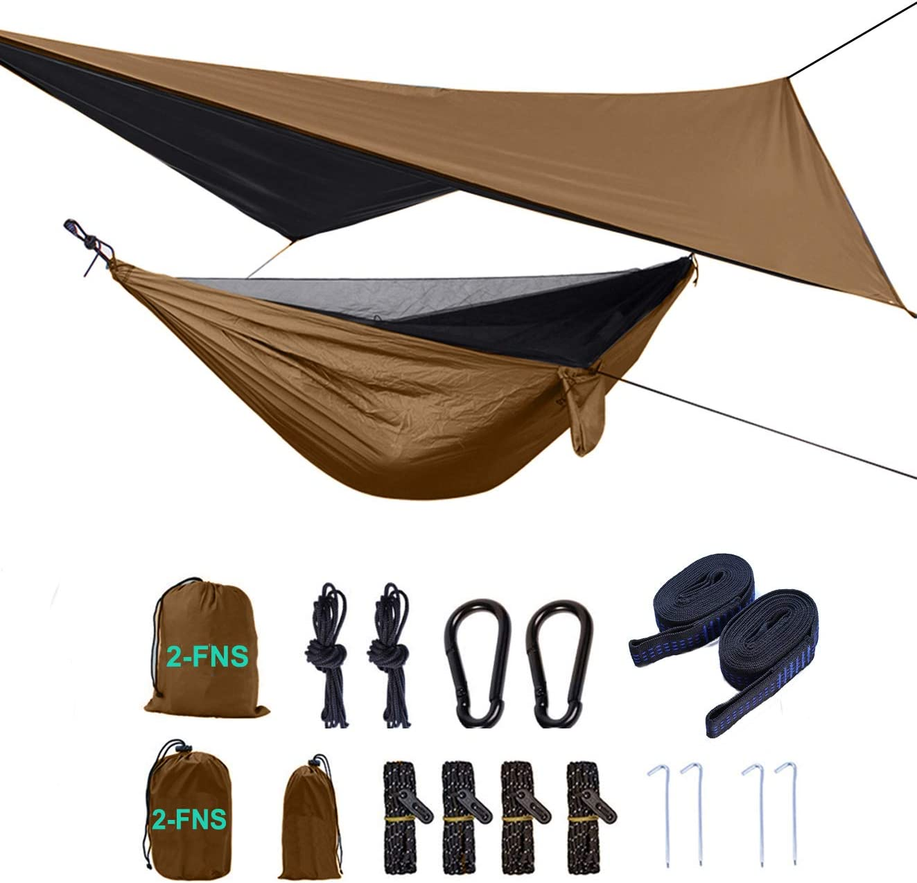 2-FNS Camping Hammock with Mosquito Net and Rain Fly, Includes Tree Straps, and Compression Sack Lightweight Portable Single Hammock Perfect for Backpacking Travel Outdoor Adventures and Camping Trip