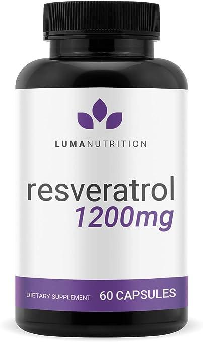 Resveratrol 1200mg - Premium Resveratrol Supplement - Antioxidants Supplement - Trans Resveratrol - 60 Capsules