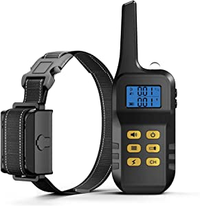 Dog Training Collar with Remote for 3200Ft Range, 3 Modes Rechargeable Dog Shock Collar with LED Light, Waterproof 100 Levels Adjustable Beep/Vibration/Shock Bark Collar for Small Medium Large Dog