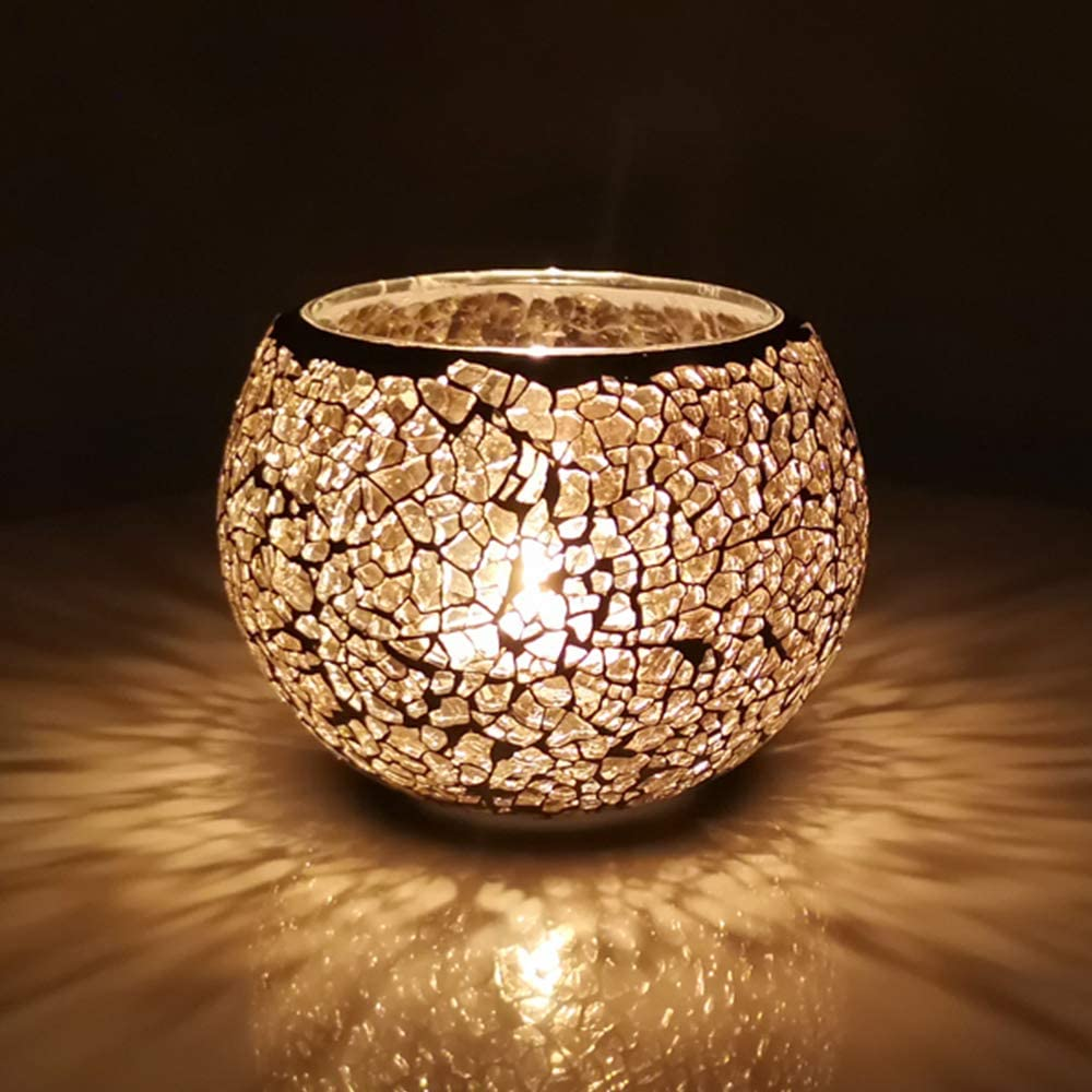 Ehome Shop Glass Mosaic Candle Holders for Table, Votive Candle Holders for Wedding Decorations for Reception (Dia75xH80mm)