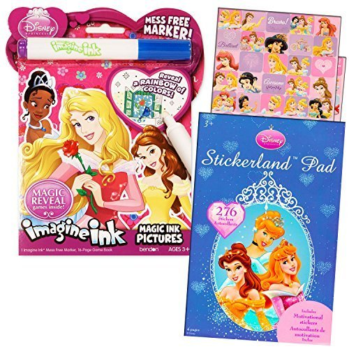 Disney Princess Imagine Ink Book And Sticker Book Set  2 Books And Mess Free Marker