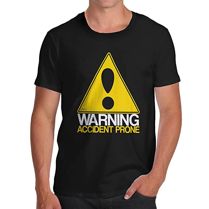 4212743ccce7 Funny T-Shirts for Men Sarcasm Warning Accident Prone Men s T-Shirt Small  Black