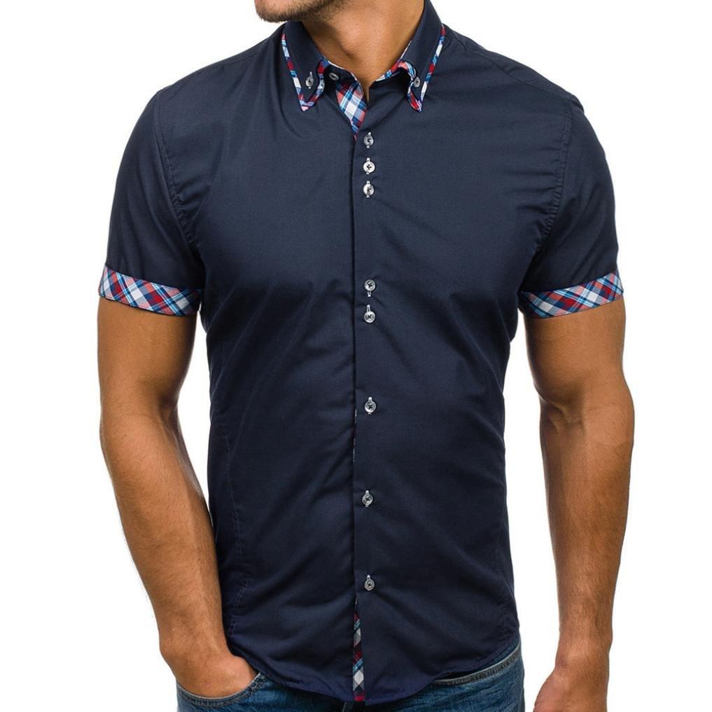 Pervobs Men Shirts Men's Summer Casual Button Double Collar Slim Patchwork Short Sleeved T-Shirt Top Blouse (M, Navy)
