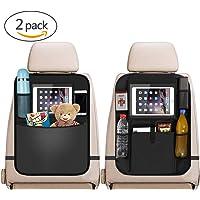 "Car Back Seat Organiser 2pcs, 2 Type Waterproof Kick Mats Car Organiser Seat Back Protectors with Multi Pockets Including 10"" iPad Tablet Holder"