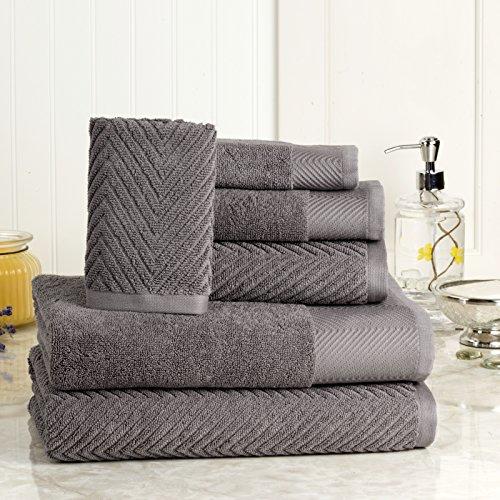 ISABELLA CROMWELL 6 Piece Cotton Bath Towels Set – 2 Bath Towels, 2 Hand Towels, 2 Washcloths Machine Washable Super Absorbent Hotel Spa Quality Luxury Towel Gift Sets Chevron Towel Set- Grey