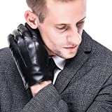 Leather Gloves for men,Anccion Best Touchscreen Winter Warm Italian Nappa Geniune Leather Gloves for Men's Texting Driving Cashmere/fleece Lining (X- Large, Black)