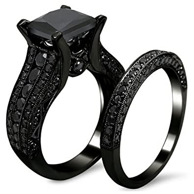 High Quality Amazon.com: AMiERY Black Gold Sapphire Princess Cut CZ Wedding Engagement  Band Bridal Rings Jewelry Set: Jewelry