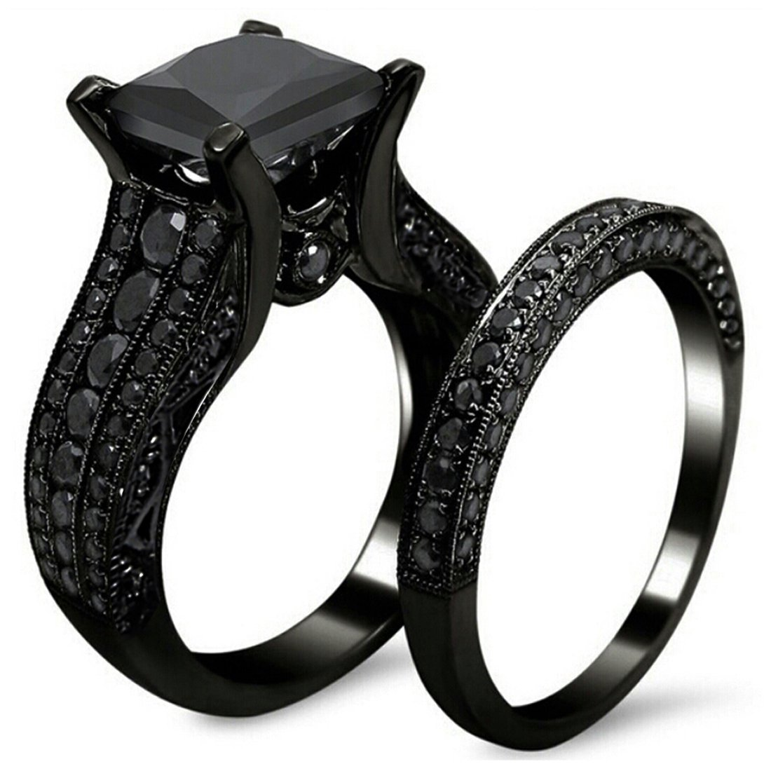 princess diamond lajerrio cut black sterling rings cheap ring engagement silver