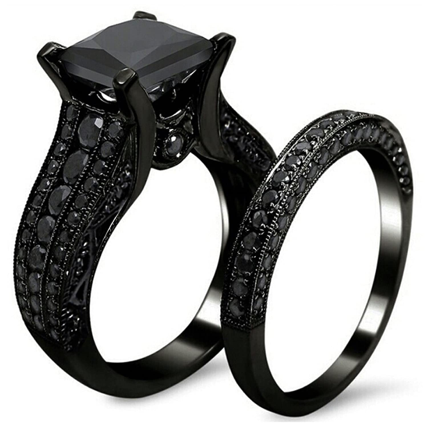 Black Gold Sapphire Princess Cut CZ Wedding Engagement Band Bridal Rings Jewelry Set