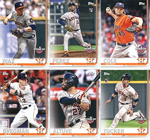 2019 Topps Opening Day Baseball Houston Astros Team Set of 10 Cards: Justin Verlander(#3), Kyle Tucker(#18), George Springer(#40), Jose Altuve(#41), Carlos Correa(#53), Alex Bregman(#69), Gerrit Cole(#73), Cionel Perez(#117), Aledmys Diaz(#156), Josh James(#181)