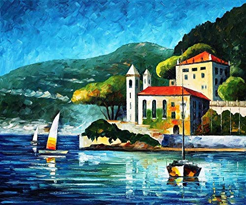 Lake Como Art Italian Oil Paintings On Canvas by Leonid Afremov - Lake Como, Villa Balbianello. Size: 36 ()