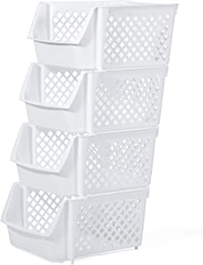 Titan Mall Stackable Storage Bins for Food, Snacks, Bottles, Toys, Toiletries, Plastic Storage Baskets Set of 4, 15x10x7 Inch/bin, All White Color, Storage Sins Stackable for Space Saving