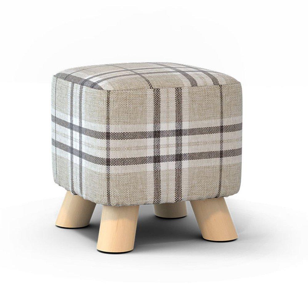 Solid Wood Shoes Stool Fashion Shoes Stool Creative Stool Fabric Home Stool Sofa Stool Coffee Table Bench Stool ( Design : 2 )