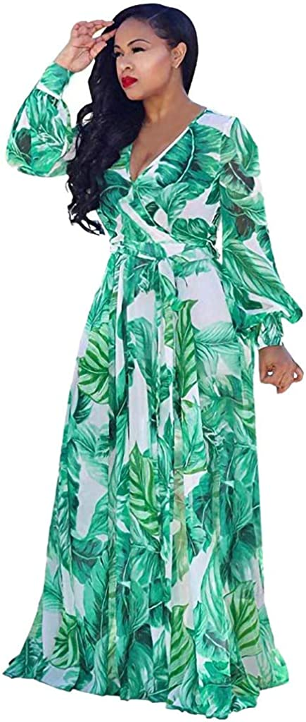 HOOUDO Women Chiffon Elegant Leaf Printing V-Neck Long Sleeve Maxi/ Long Dresses Adjustable Waist Strappy Size S-XXL UK 8-18