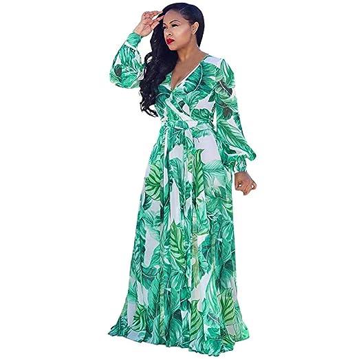 Amazon.com: Women\'s Beach Dress, Plus Size Long Sleeve V ...