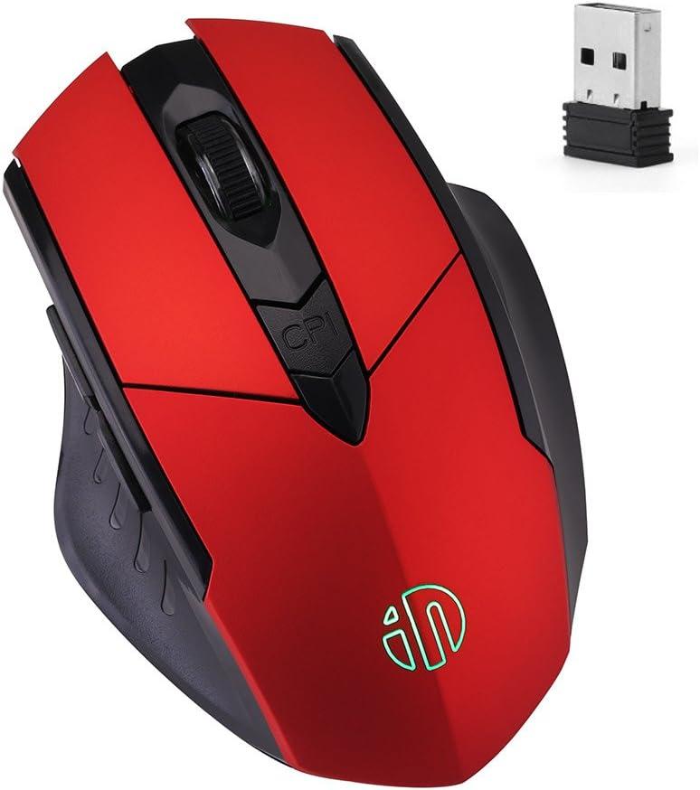 Ratón Inalámbrico, Ratón De Juego Recargable inphic Con Receptor USB Nano Para Notebook, PC, Computadora Portátil, Computadora, Macbook (Red plating)