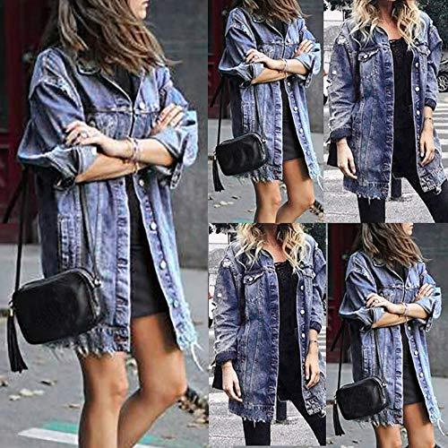 Hole Fitt Womens Faded Denim Coat Vintage Ripped Jacket Blue3 Distressed XxnHTq4aw
