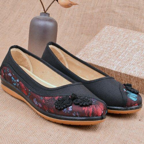 HBDLH Calzado de mujer/transpirable/cómodo/Primavera Solo Zapatos Hembra Antideslizante Cómodo Old Beijing Zapatos De Tela Fondo Plano Media Y La Vejez Transpirable Suave Fondo Mamá De Zapatos. black