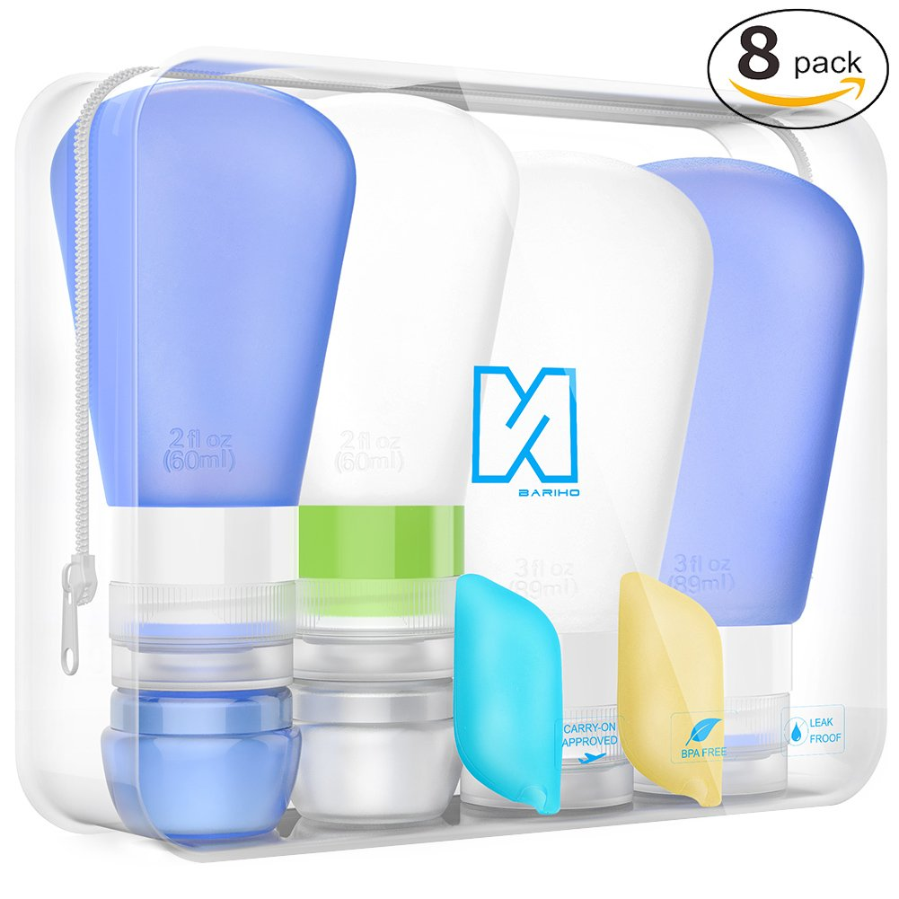 Portable 3-layer Leakproof Silicon Soft Travel Bottle Sets(8PCS) With Cosmetic Containers(10mL) and Toothbrush Cover for ShampooToiletriesLotionConditioner-Carry-on TSA Airline approved SHC011