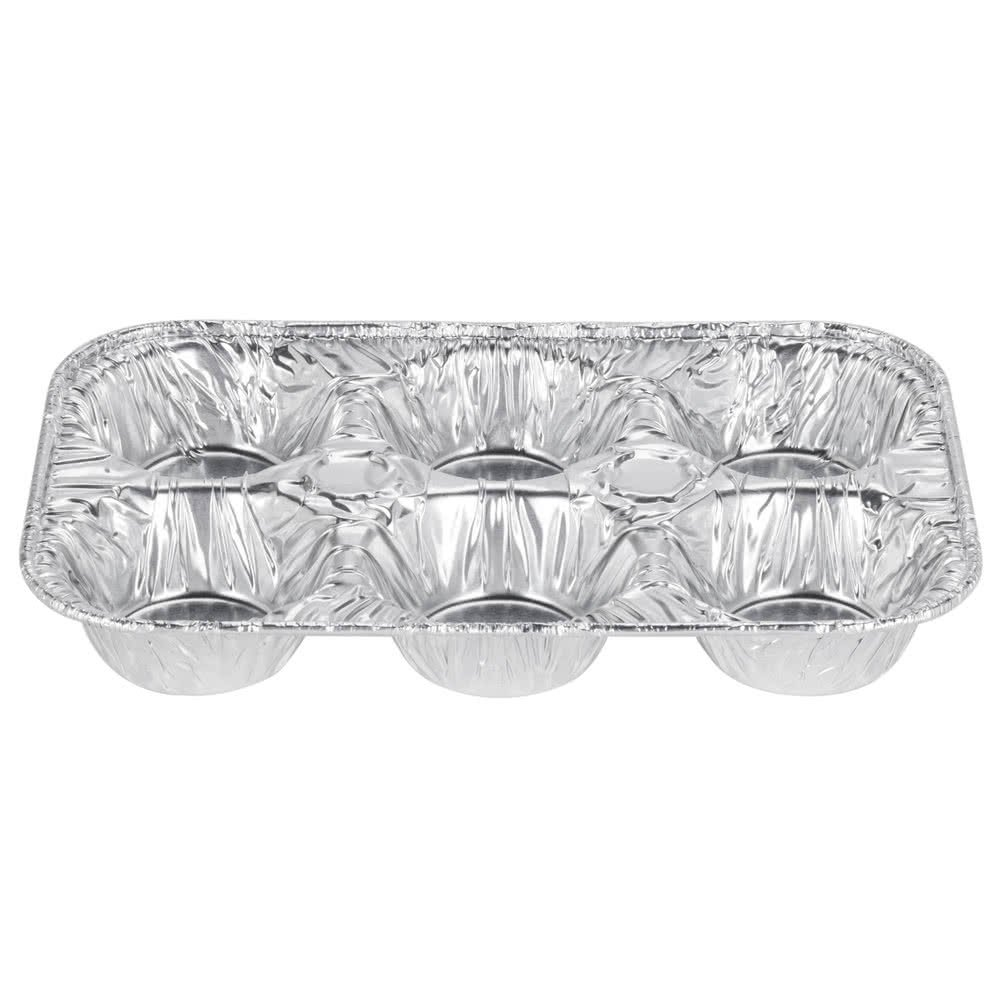 Tabletop kingFine Pack E14 6 Cavity Foil Muffin Pan - 500/Case