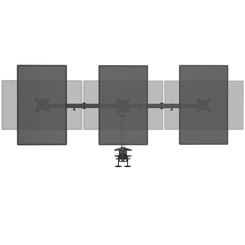 SLYPNOS Triplo Braccio per Monitor, Supporto per 3 Monitor da Scrivania con Molla, adatto allo Schermo da 15 a 27 pollici, in Alluminio con Morsetto a C, per Gioco/lavoro, Nero