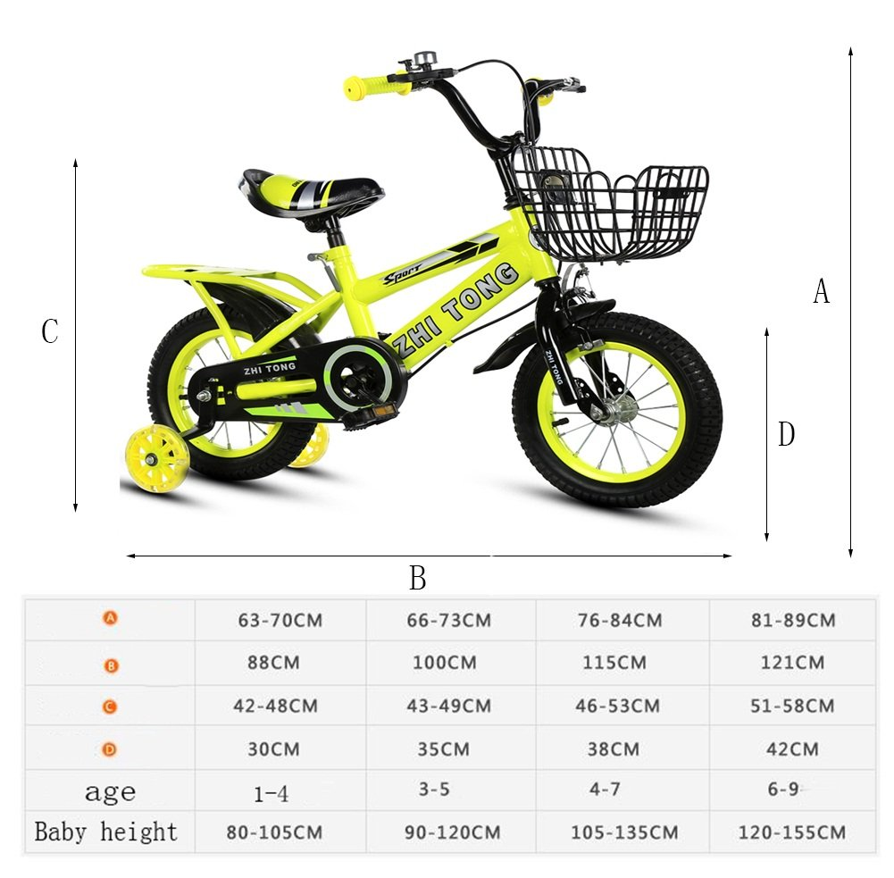 Red 12 inches ZLX Freestyle Freestyle Freestyle Kid's Bike For Boys And Girls, With Training Wheels,In Multiple colors (color   bluee, Size   18 inches) 200838