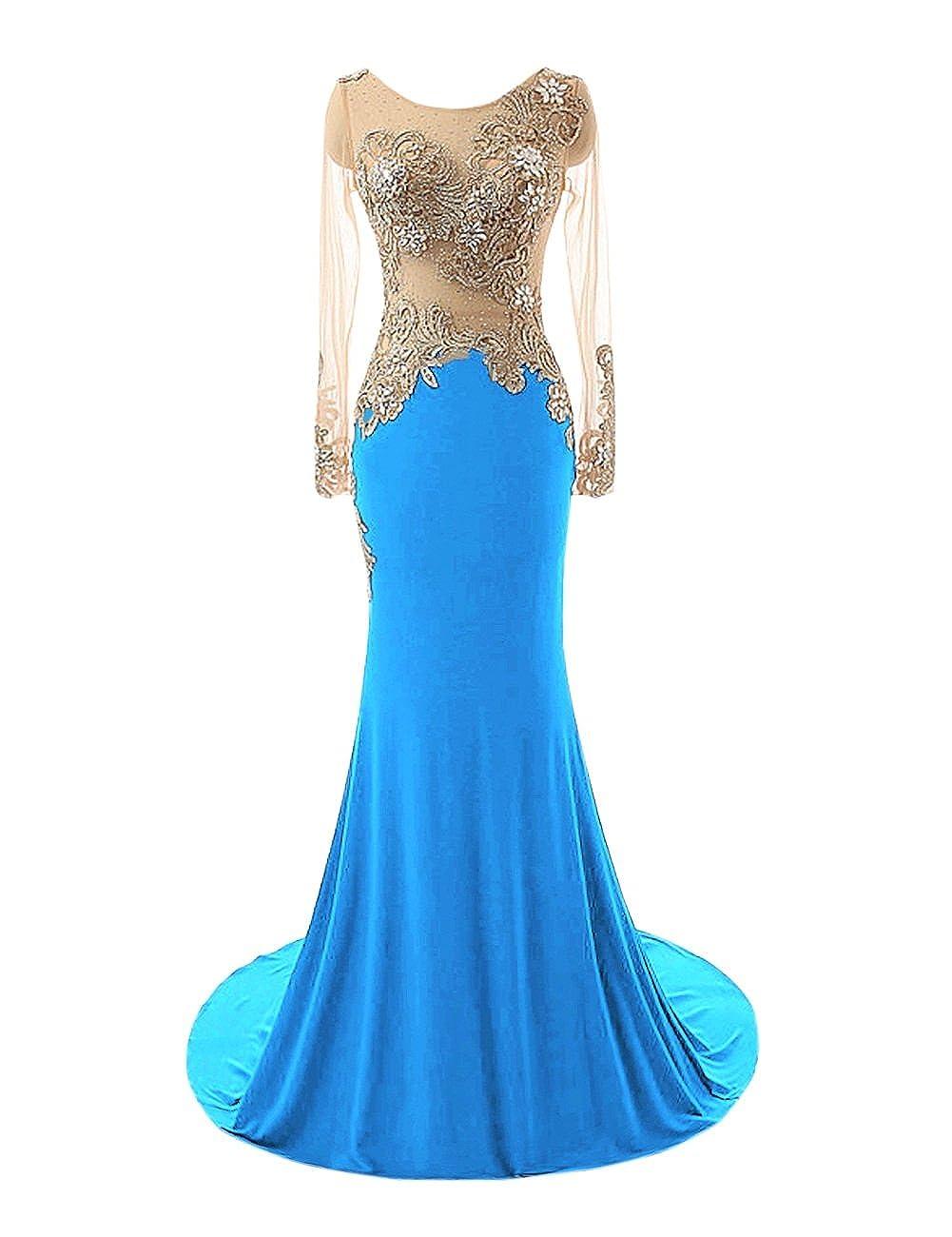 Ocean bluee Bess Bridal Women's Mermaid Beaded Sheer Long Sleeves Prom Evening Dresses