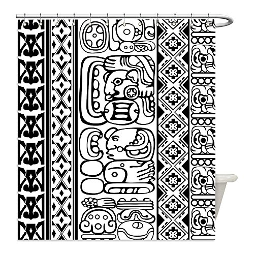 Mayan Costume Black Flag (Liguo88 Custom Waterproof Bathroom Shower Curtain Polyester Tribal Antique Aztec Mayan Folk Abstract with Animal and Geometric Ethnic Boho Pattern Black White Decorative bathroom)
