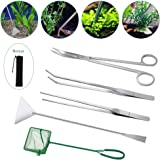 Lukovee Aquarium Tools Kit, 4 in 1 Long Stainless Steel Tweezers Scissor Spatula Multi Functional Aquarium Tank Tool Set for Fish and Aquatic Plants Trim Aquascaping Cleaning & Fish Starter Kit