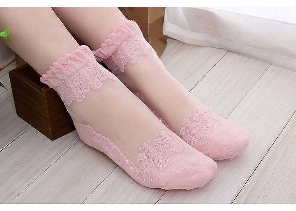 Tenworld Women Girl Ultrathin Transparent Crystal Lace Elastic Short Socks (Black) at Amazon Womens Clothing store: