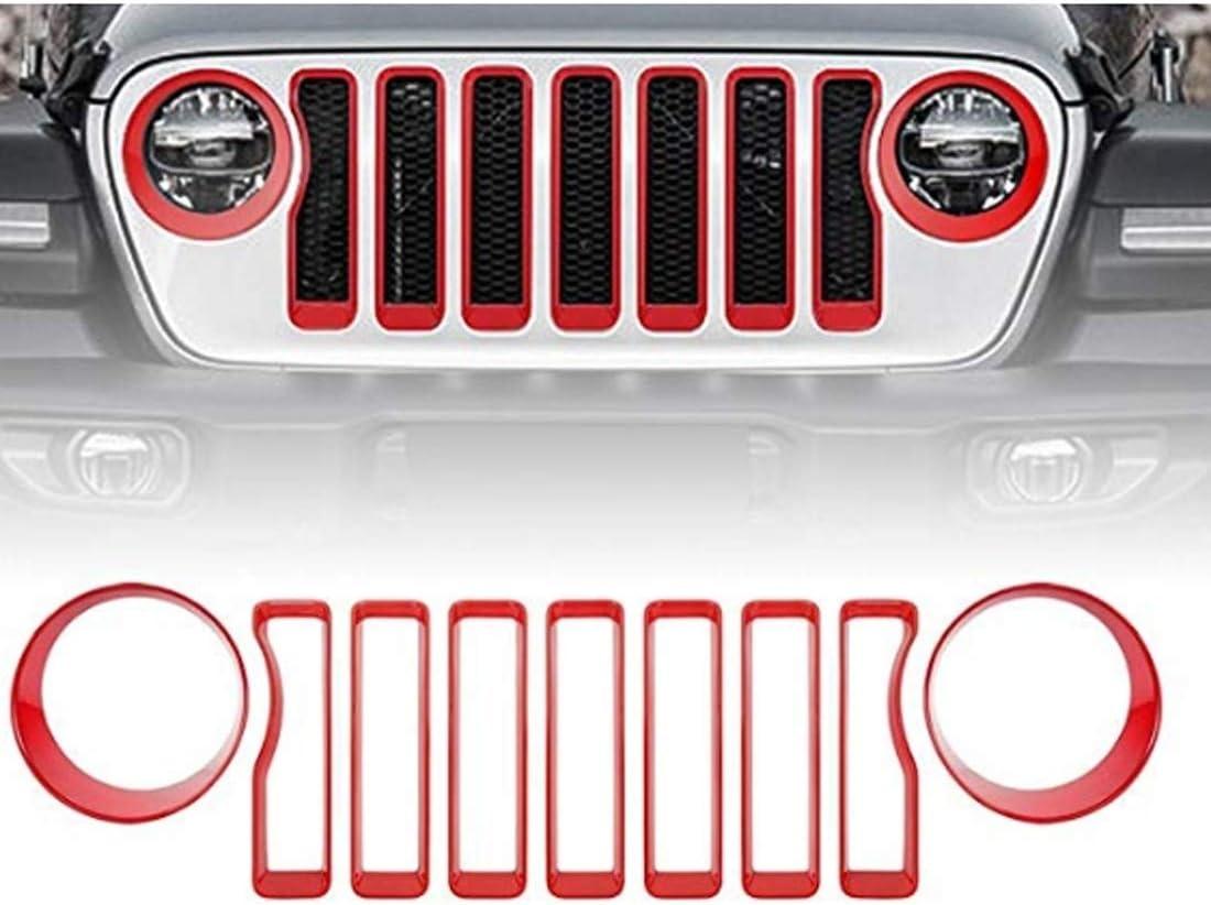 Grille Mesh voiture Grill Insert Adaptateur dampoule de voiture Convient for Jeep Wrangler JL 2018-2019 Noir Color : Black Phare Tournez la lumi/ère Cover Trim
