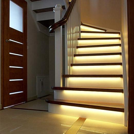 DDSTAR 3m Led luz de escalera inteligente debajo de la luz de la cama Control del detector del sensor Pir Lámpara de pared inteligente Armario Armario Luz de cocina: Amazon.es: Iluminación