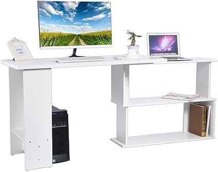 YIS Scrivania Computer PC Angolare con 5 Ripiani Design a L Girevole Ufficio 140x120x78.2cm Legno