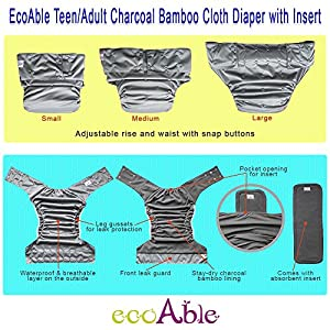 EcoAble Teen & Adult Incontinence Cloth Diaper with Charcoal Bamboo Insert Pad, One Size from EcoAble Adult Cloth Diaper