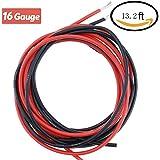 16 Cavi in Silicone a Filo Resistente Alle Alte Temperature Morbide e Flessibili 16 AWG Filo di Silicone (6,6 piedi neri e 6,6 piedi rossi)