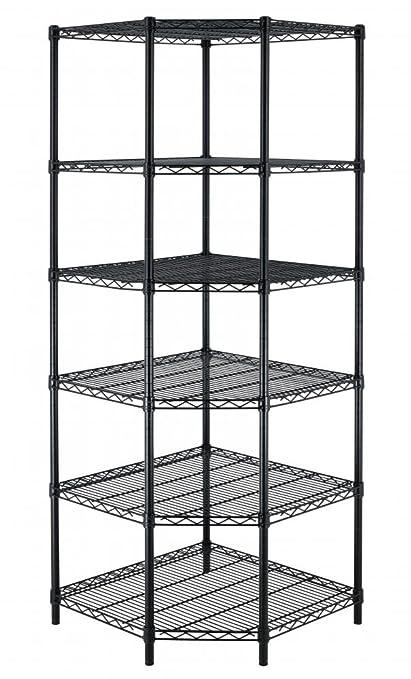 Amazon.com: New Heavy Duty Wire Steel 6-Tier Corner Shelf Garage ...