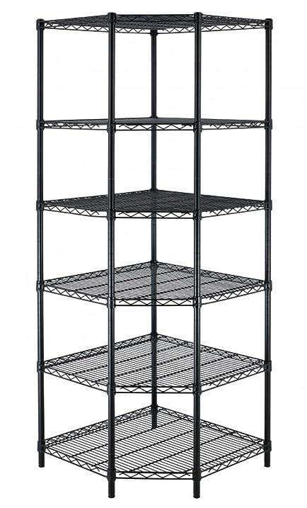 New Heavy Duty Wire Steel 6 Tier Corner Shelf Garage Storage Shelving Rack C706