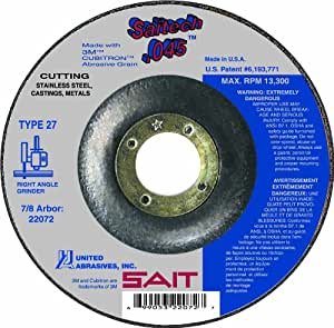 United Abrasives SAIT 22082 Type 27 Saitech Cutting Wheel, 6-Inch x .045-Inch x 7/8-Inch, 50-Pack