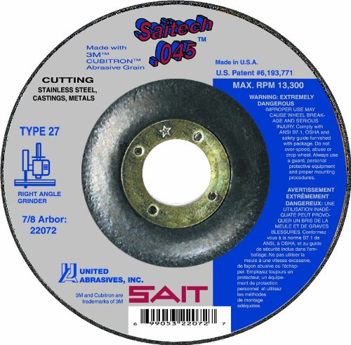 United Abrasives SAIT 22072 Type 27 Saitech Cutting Wheel, 4-1/2-Inch x .045-Inch x 7/8-Inch, 50-Pack by SAIT