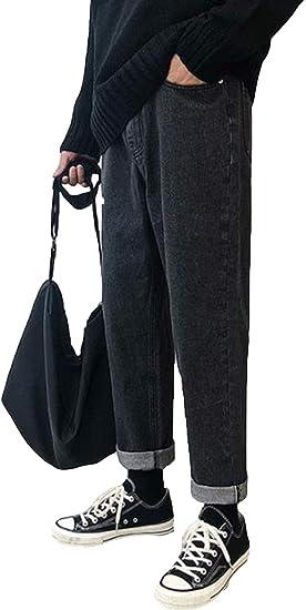 AOZUOジーパン デニム パンツ ロング丈 メンズ カジュアル スキニー 黒 ゆったり 無地 gパン ダメージ加工 美脚 ストレッチ ワイドパンツ デニムパンツ ストレッチ