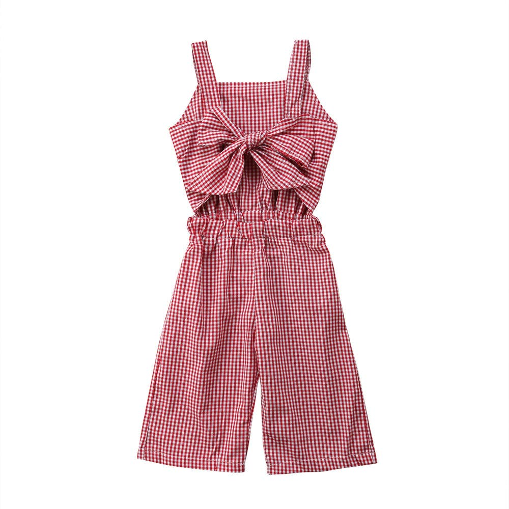 Wang-RX Newborn Kids Baby Girls Plaid Romper Pantalones Mono Ropa ...